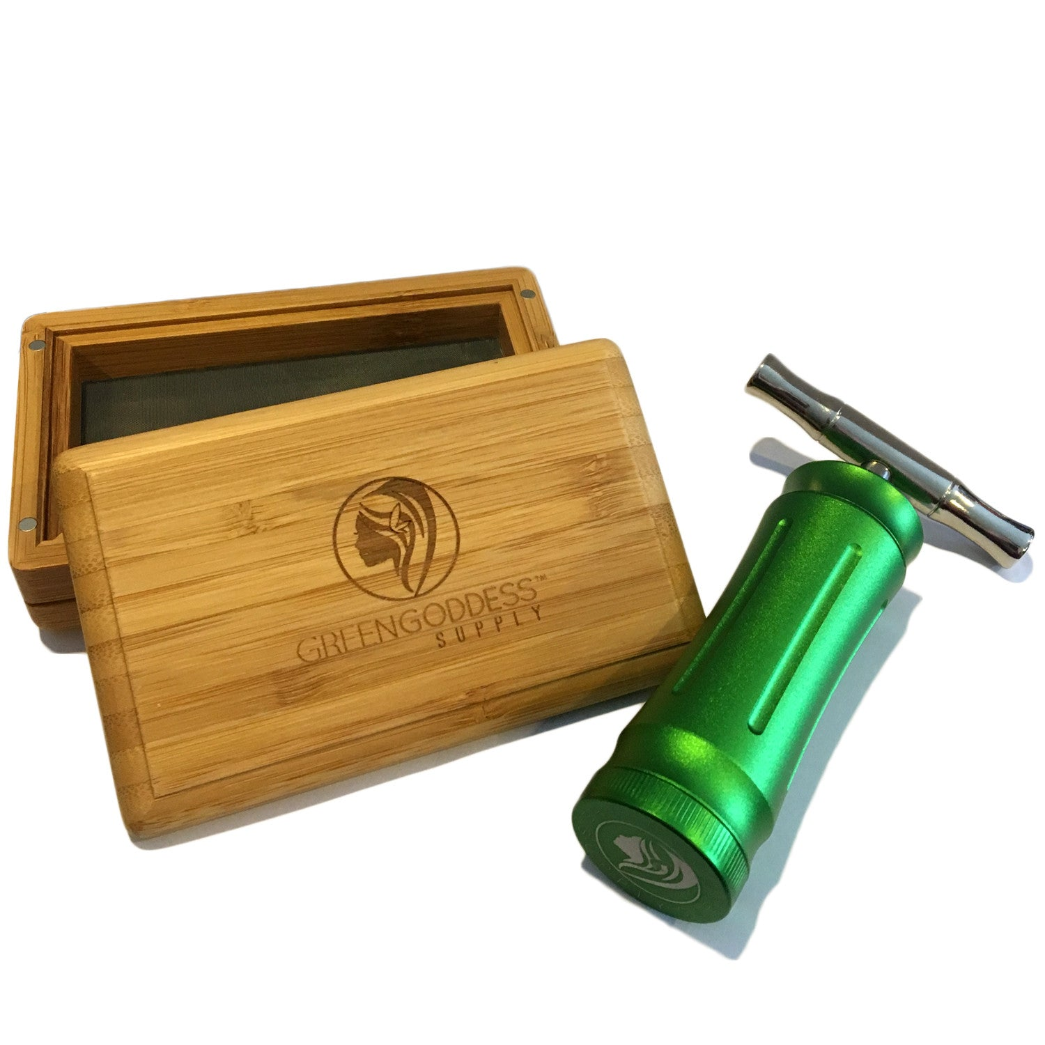 Mini Bamboo Sifter Box & Pollen Press (Bundle) - Green Goddess Supply