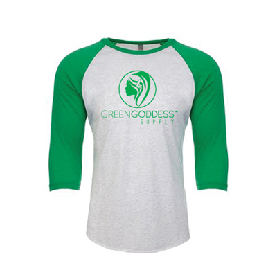 3/4 Sleeve Raglan Logo Unisex Baseball Tee - Green Goddess Supply