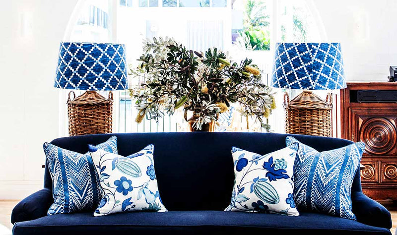 Mixing blue & white textiles at Halcyon House