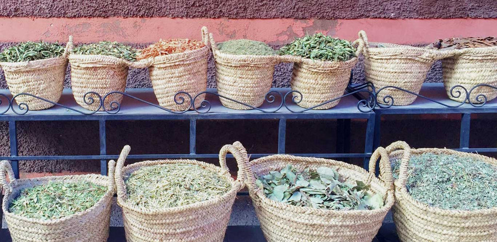 Baskets of herbs in Morocco