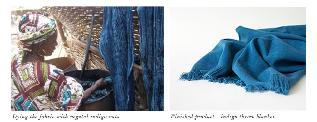 Indigo dying & finished indigo throw