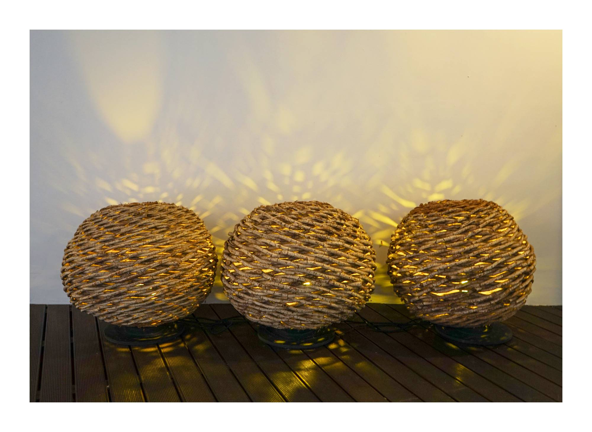 Natural woven basket lights