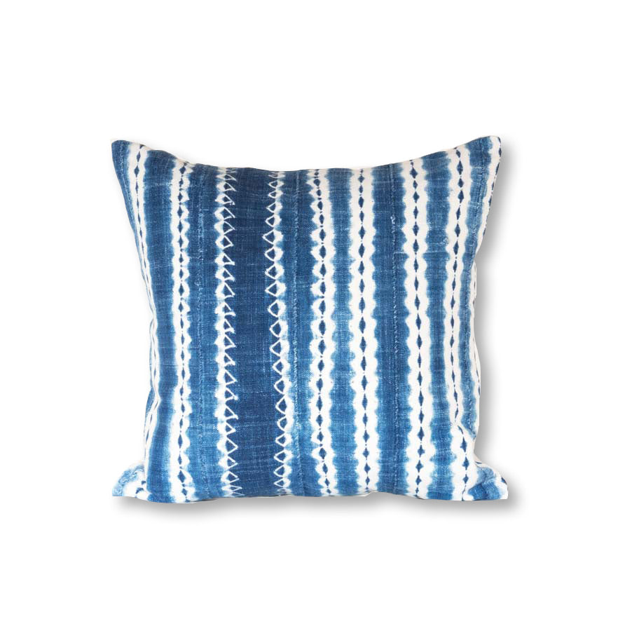 African Indigo Pillow from Burkina Faso 18x18