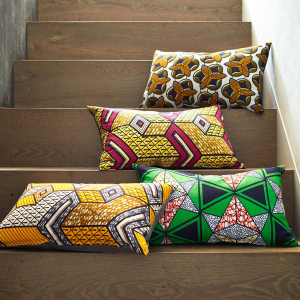 African wax print pillows on stairs