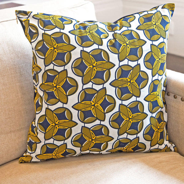 Blue and yellow African wax print pillow