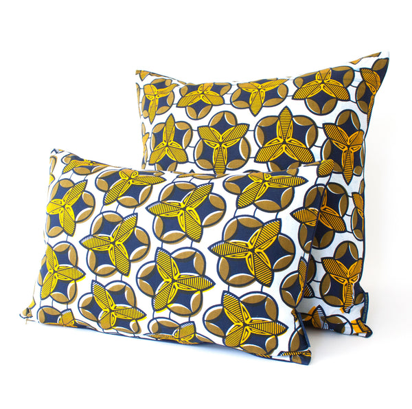 Asmara Pillow in yellow, navy and white African wax print.