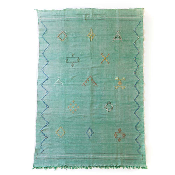 Cactus Silk Rug V in green