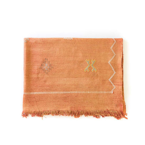 9' x 6' Orange Cactus Silk Rug I