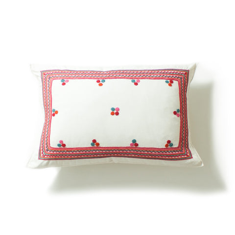 Chiapas Embroidered Pillow I in dark pink and white