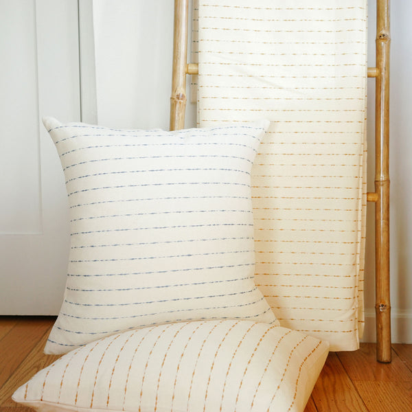 Handwoven cotton blankets and pillows from Mexico