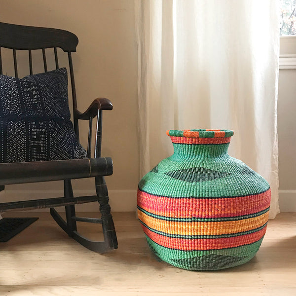 Large woven basket from Ghana