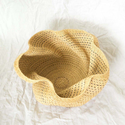 Wave Basket VIII handwoven African basket from Bolgatanga, Ghana