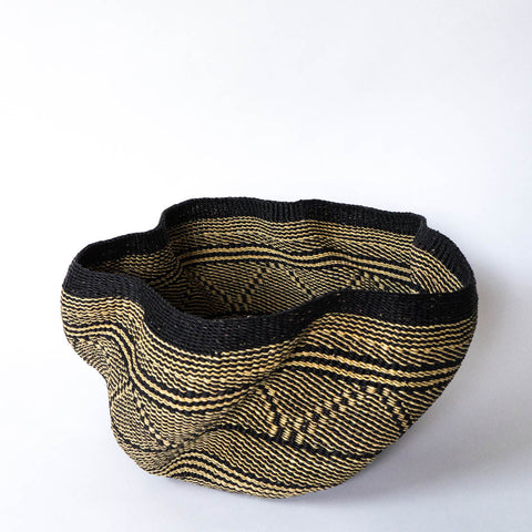 Wave Basket IV handwoven African basket from Bolgatanga, Ghana