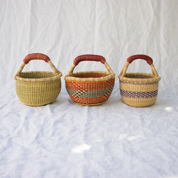 Colorful mini market baskets from Ghana