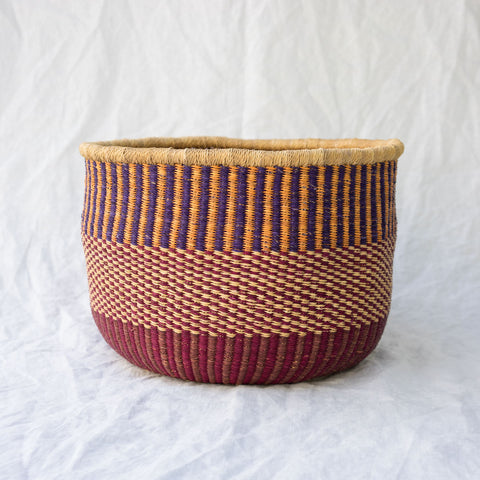 African Basket I in pink, navy blue & natural