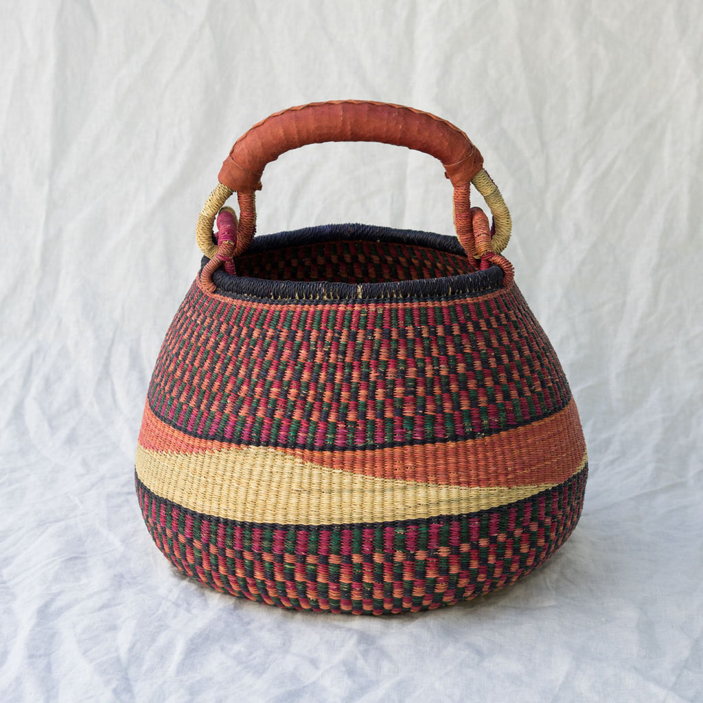 African Pot Basket I - pink & navy blue