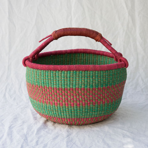 African Market Basket II in pink & green