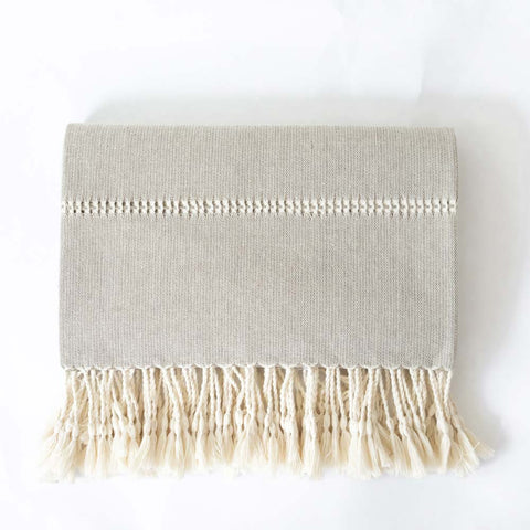 Cotton Throw with Fringe - Gray