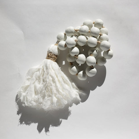 White Clay Beads with Muslin Tassel from Harper & Wilde