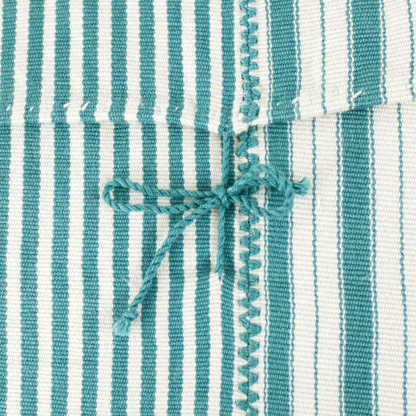 Close up of Highlands Stripe Pillow I with tie closure on back