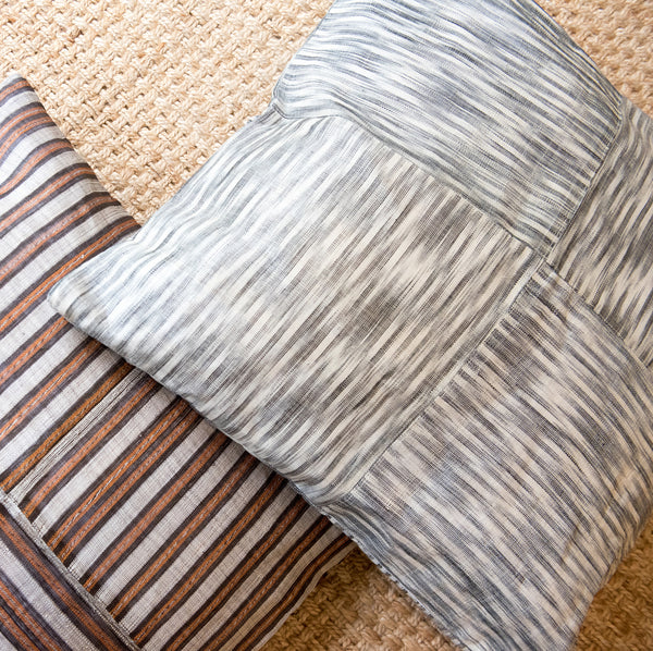 Large square floor pillows handmade from banana leaf fiber.