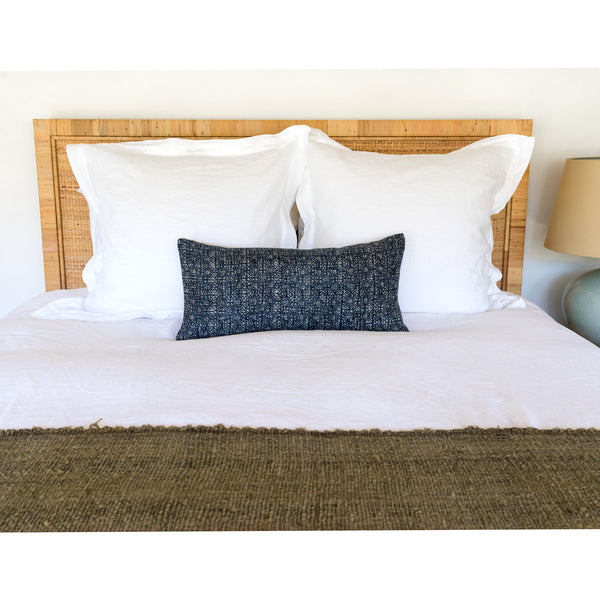 Indigo Batik Lumbar Pillow on bed