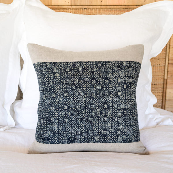 "Indigo Batik Pillow III - 16""x16"""