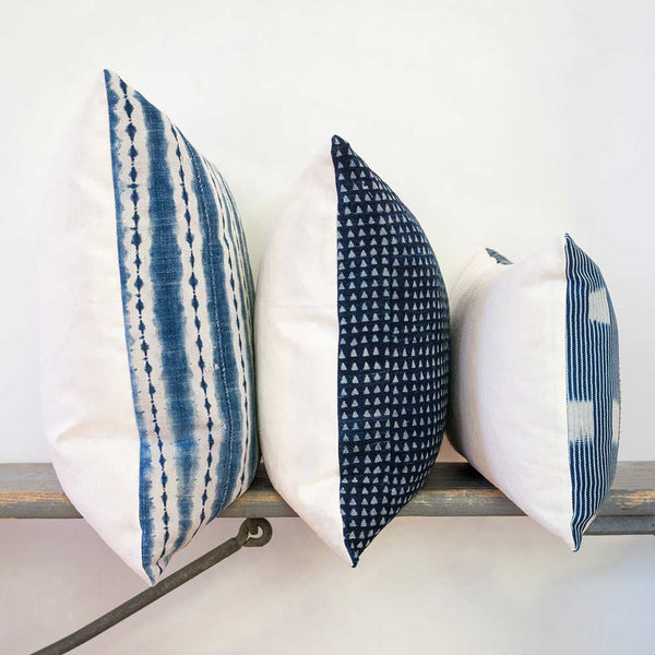 West African indigo pillows stacked