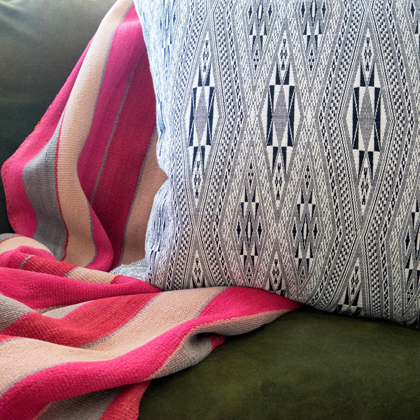 Black & white Jirai Pillow handwoven in Thailand