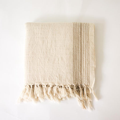 Turkish Towel - Coffee stripe folded