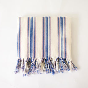 Turkish Towel - Blue & Lavendar stripes folded