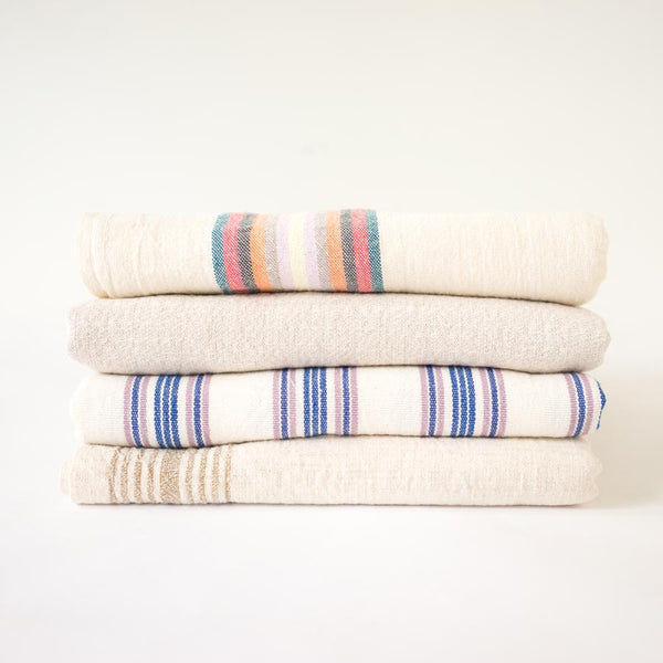 Turkish towels in neutral & colorful stripes