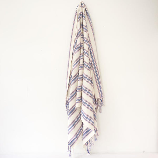 Turkish Towel - Blue & Lavendar stripes hanging