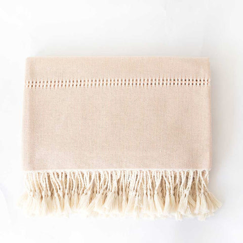 Pale Pink Cotton Throw with Fringe folded
