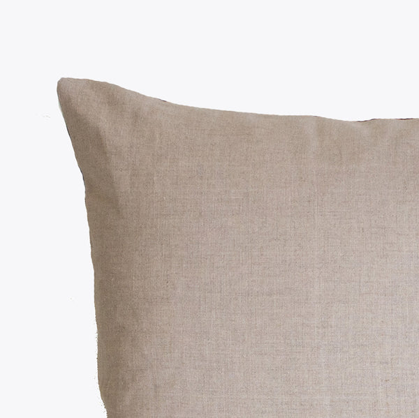 Solid khaki linen back of Shibori lumbar pillow