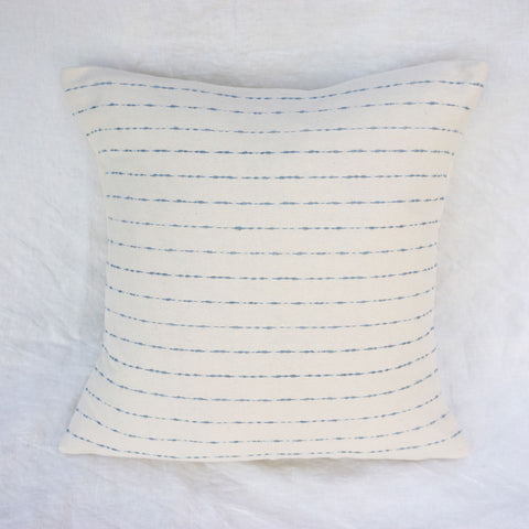 Striped Cotton Throw Pillow - Blue