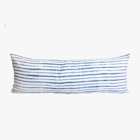 Shibori Lumbar Pillow II in indigo & white stripe