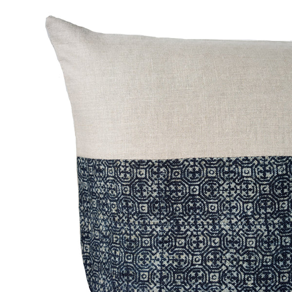 Indigo batik pillow - corner detail