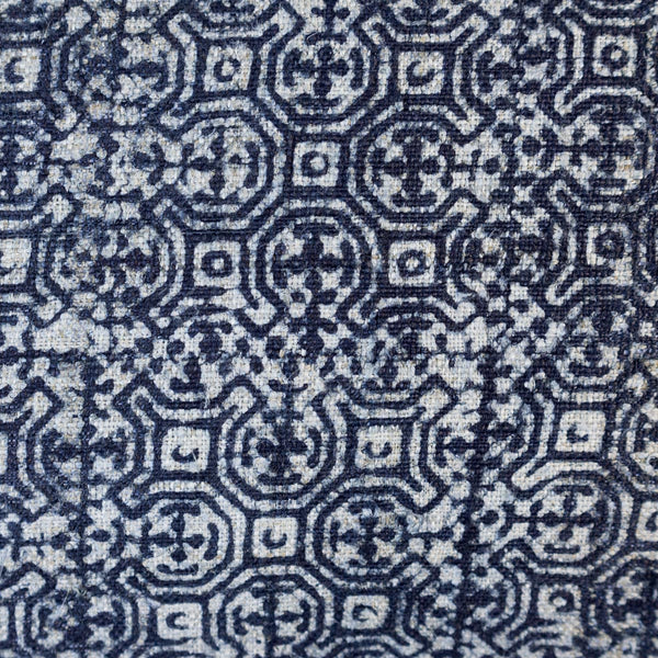 Indigo Batik Pillow detail of hemp fabric