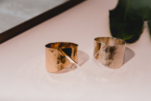 silver and gold fill wave rings by fail jewelry