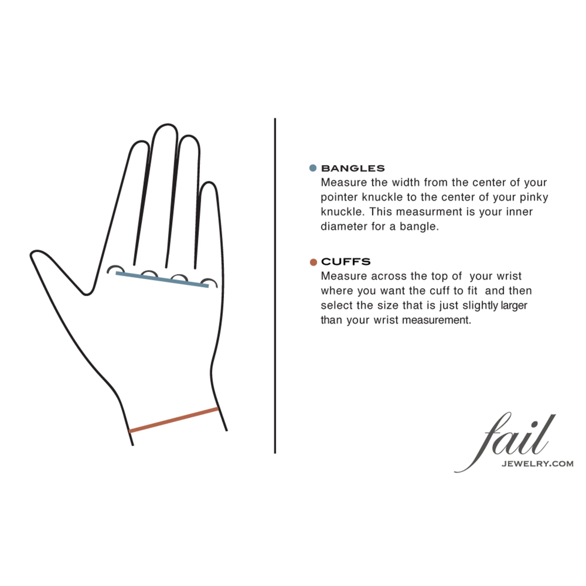 Joan cuff | bracelet sizing diagram | #failjewelry