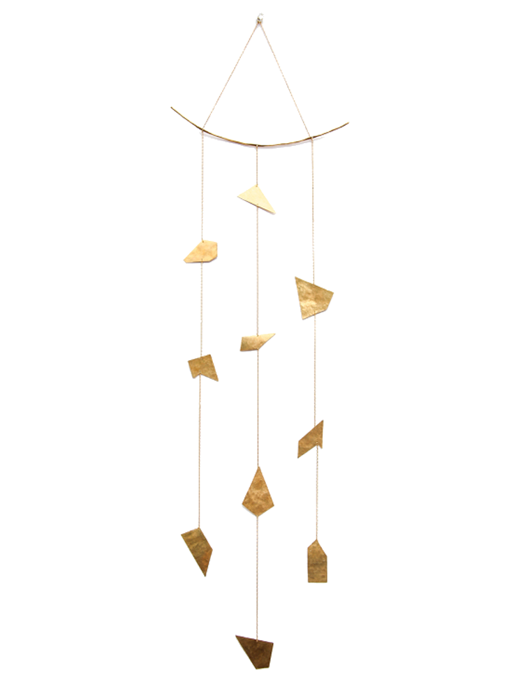 HOME | organic 3 strand mobile | wall hanging with organic and hand forged brass sheet and wire with vintage brass chain | #failjewelry