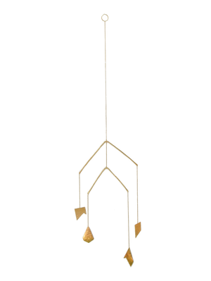 home | organic 4 piece tiered mobile | two tiers hang perpendicular to each and move independently with organic hand cut and forged brass sheet and wire | #failjewelry