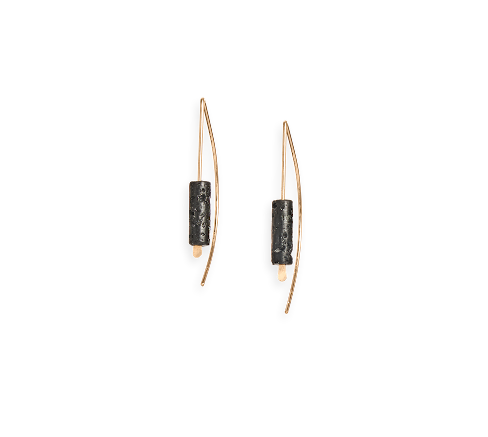| arch earring | gold earring featuring a lava stone | available in 14k yellow gold fill or sterling silver | #failjewelry