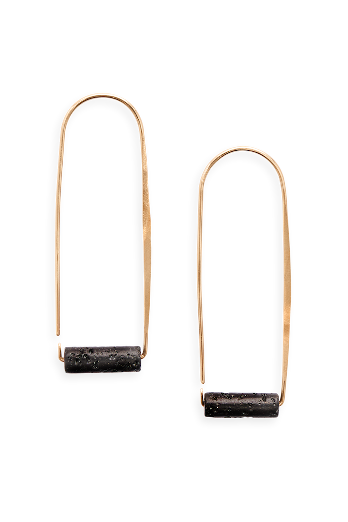 large aura hoop | modern hoop design with a semi precious stone | available in 14k yellow gold fill or sterling silver with lava or mookaite stones | #failjewelry