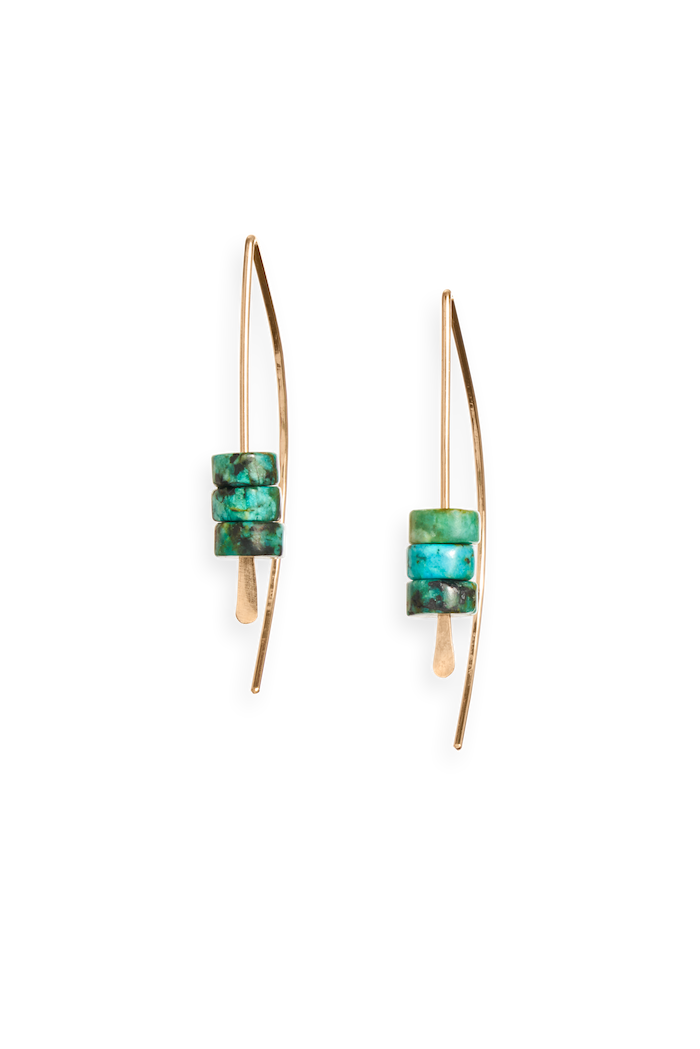 | arch earring | gold earring featuring turquoise beads | available in 14k gold fill and sterling silver | #failjewelry