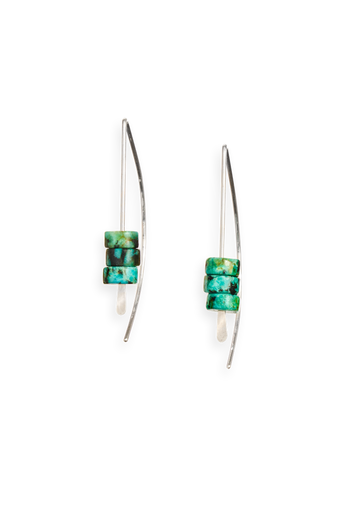 | arch earring | sterling silver earring featuring turquoise beads | available in 14k gold fill and sterling silver | #failjewelry