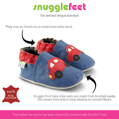Snuggle Feet baby shoe soles are made from brushed suede, this means they help to stop slipping on smooth floors.