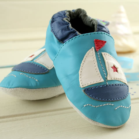 Sailing boat first baby shoes, slippers