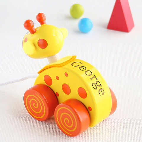 Personalised Yellow Giraffe Wooden Pull Along Toy